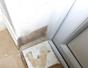 Dampness on wall caused by bridging